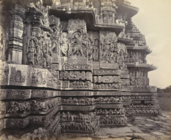 Views in Mysore. Ruined temple of Hallabeed [Hoysalesvara Temple, Halebid]. Detail of carving on S.W. face